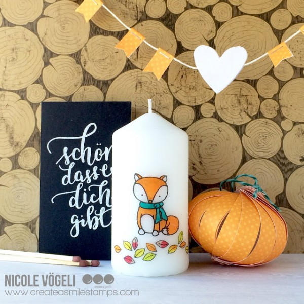 Project Fall Fox Stamped Candle and Matchbox