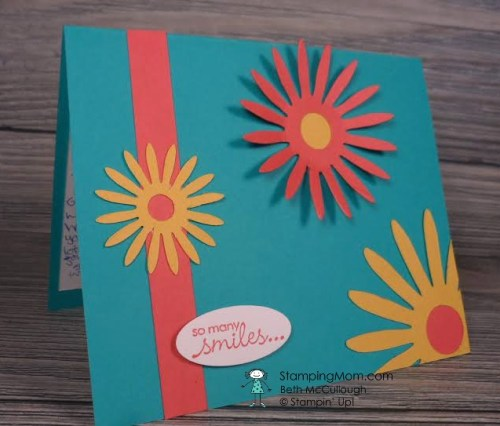 """Mother's Day card made by Abby, daughter of demo Beth McCullough. www.StampingMom.com Flowers made with Stampin' Up Retired """"Flower, Daisies #2 die"""" #StampingMom #StampinUp #MothersDayCard"""
