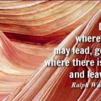 QUOTE: DO NOT GO WHERE THE PATH MAY LEAD,GO INSTEAD WHERE THERE IS NO PATH AND LEAVE A TRAIL.