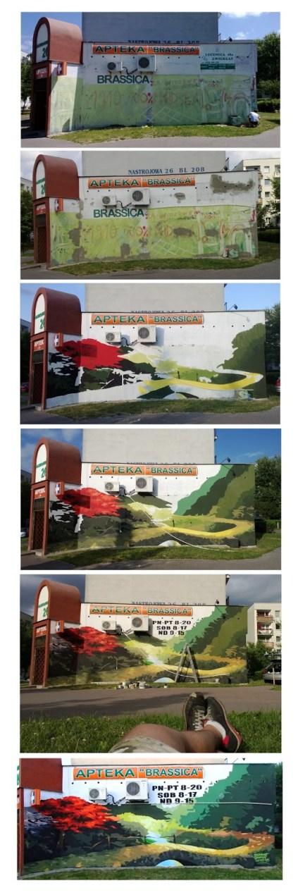 Odnowiona elewacja Apteki w Łodzi na Radogoszczu. Mural, graffiti reklama Łódź.