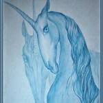 Единороги<br />40х50, бумага, акварельный карандаш, 2007г.