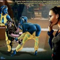 Padme watches with pervers fascination while Sebulba's twi'lek twins pleasure him inside the podrace hangar...