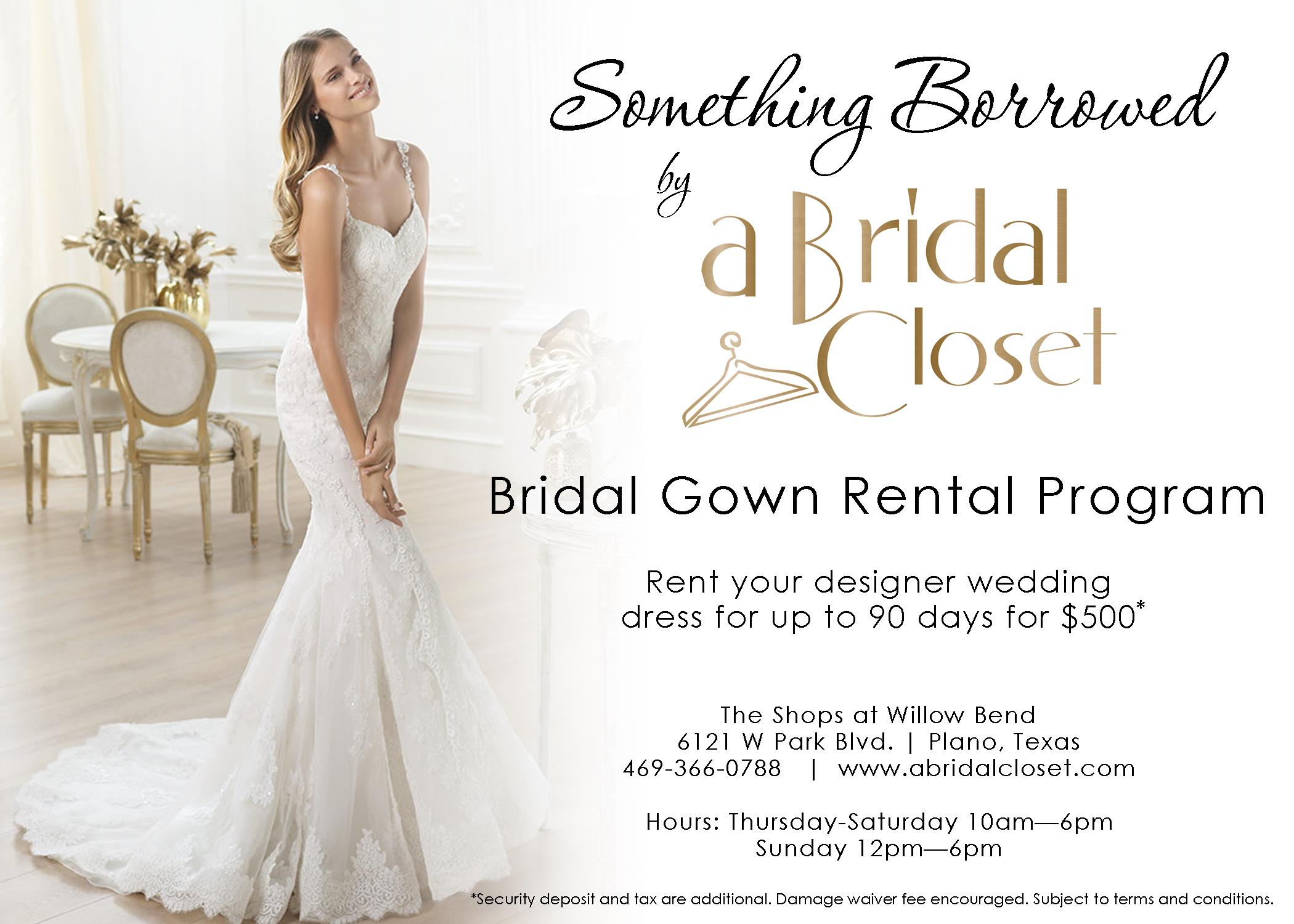 bridal closet wedding dress rentals CLICK HERE TO LEARN MORE ABOUT OUR BRIDAL GOWN RENTAL PROGRAM