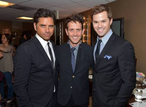 "John Stamos, Joey McIntyre and Andrew Rannells  attended the 22nd Annual ""A Night at Sardi's"" to benefit the Alzheimer's Association at the Beverly Hilton Hotel in Beverly Hills, CA. on March 26, 2014."