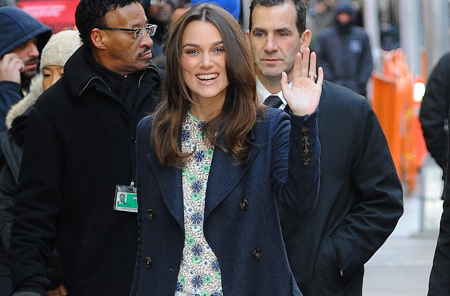Keira Knightley arriving on 'Good Morning America' today in NYC