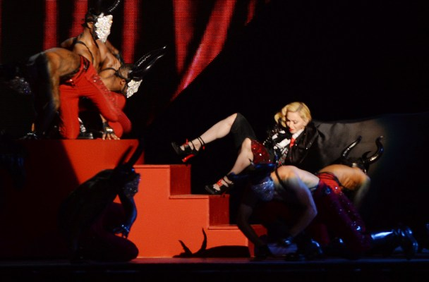 Madonna Falls Onstage