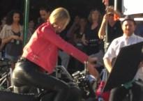 Gigi Hadid riding motorcycle