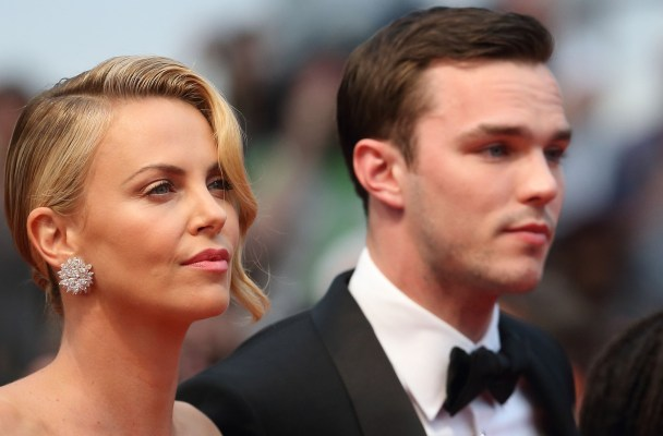 "CANNES, FRANCE - MAY 14:  Charlize Theron and Nicholas Hoult attend the ""Mad Max : Fury Road""  Premiere during the 68th annual Cannes Film Festival on May 14, 2015 in Cannes, France.  (Photo by Mike Marsland/WireImage)"
