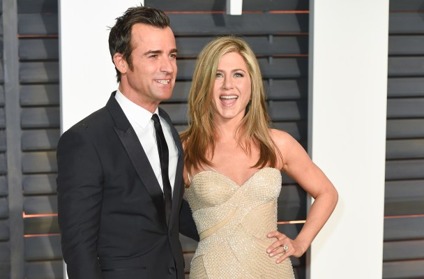 Arrivals for the 2015 Vanity Fair Oscar after party held on Sunday Feb. 22 2015, at The Wallis Annenberg Center for the Performing Arts in Beverly Hills, California.  Pictured: Justin Theroux, Jennifer Aniston Ref: SPL991564  220215   Picture by: Splash News  Splash News and Pictures Los Angeles:	310-821-2666 New York:	212-619-2666 London:	870-934-2666 photodesk@splashnews.com