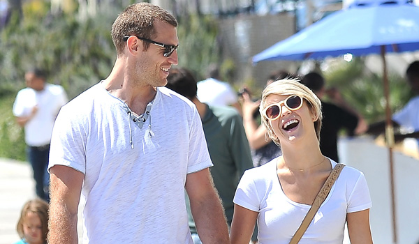 **SHOT ON 5/10/14** Santa Monica, CA - Julianne Hough and boyfriend Brooks Laich take a sunny stroll in Santa Monica with Julianne's two King Charles Cavalier dogs. Julianne will soon be setting off with her brother Derek for her MOVE LIVE tour
