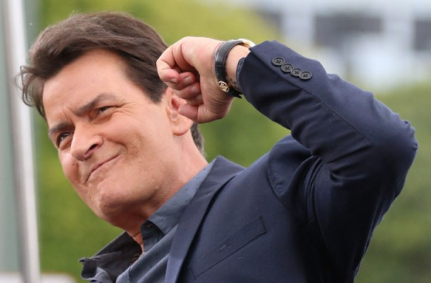 Charlie Sheen looks very animated as he interviews for Extra at Universal Studios in Hollywood!  Pictured: Charlie Sheen Ref: SPL1176859  120515   Picture by: LA Photo Lab  Splash News and Pictures Los Angeles:	310-821-2666 New York:	212-619-2666 London:	870-934-2666 photodesk@splashnews.com