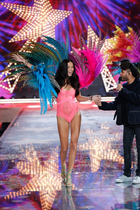 Adriana Lima walks the runway at the 2015 Victoria's Secret Fashion Show in New York City on November 10th, 2015