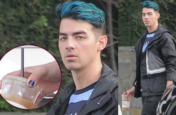 51925132 Singer Joe Jonas was spotted leaving a coffee shop in West Hollywood, California on December 8, 2015. Joe was showing off his painted finger nails, which matched his blue hair. FameFlynet, Inc - Beverly Hills, CA, USA - +1 (818) 307-4813