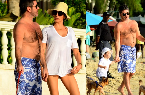 Simon Cowell and family spotted on the beach in Barbados  Pictured: Simon Cowell and Lauren Silverman Ref: SPL1197660  161215   Picture by: 246Paps / Splash News  Splash News and Pictures Los Angeles:	310-821-2666 New York:	212-619-2666 London:	870-934-2666 photodesk@splashnews.com