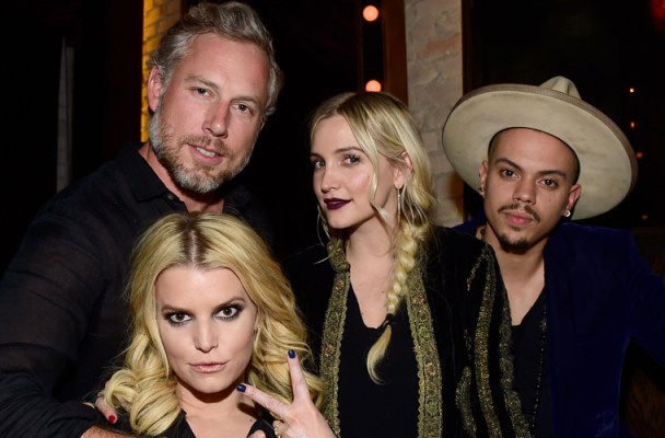 "LOS ANGELES, CA - JANUARY 05: (L-R) A guest, Jessica Simpson, Ashlee Simpson and Evan Ross attend a celebration for Linda Perry's song ""Hands Of Love"" from the film ""Freeheld"" on January 5, 2016 in Los Angeles, California.  (Photo by Frazer Harrison/Getty Images)"