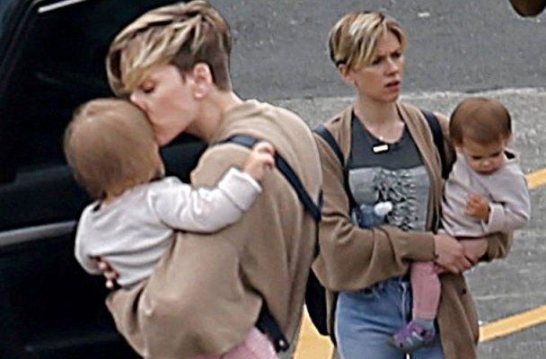 scarlett johansson daughter on set photos
