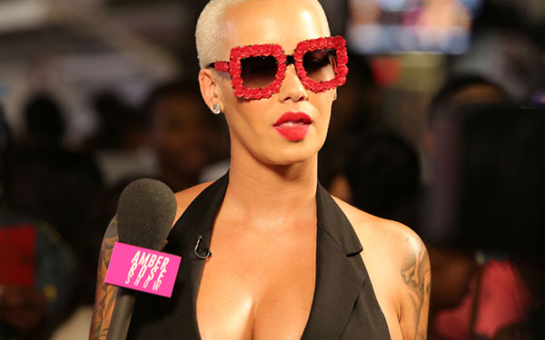 Amber Rose Boobs Cleavage Plunging Jumpsuit Show Hollywood Video