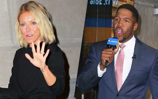 Michael Strahan Kelly Ripa Feud GMA Excited Pics 1