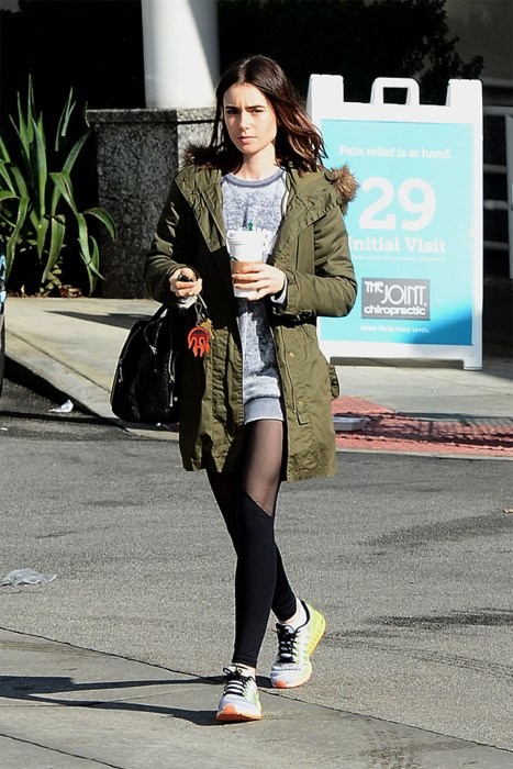 Lily Collins picks up Starbucks on her way to the gym inLosAngeles