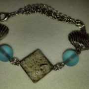 EB Sand Blue Sea Glass and Silver Shells