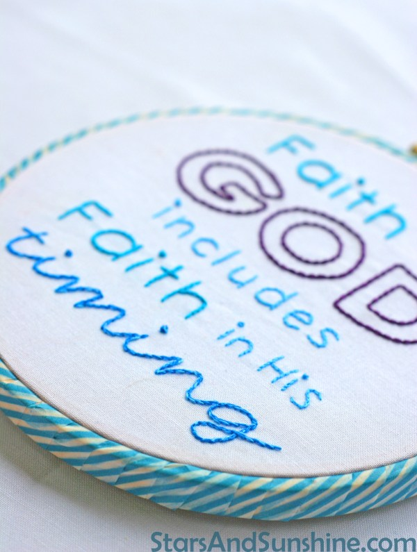Faith timing embroidery hoop