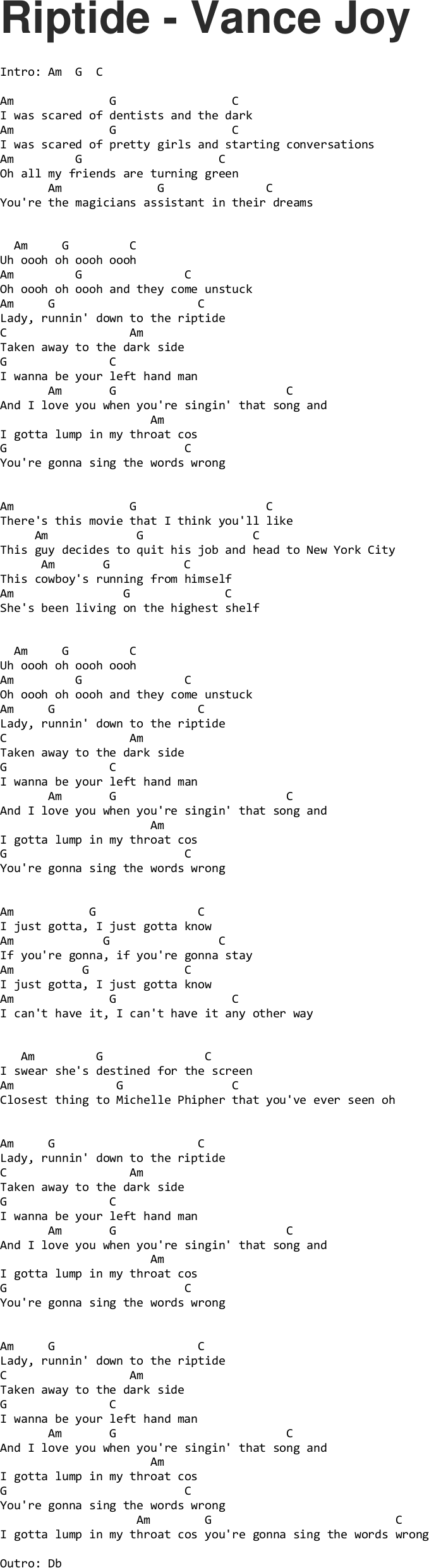 vance joy riptide chords Quotes