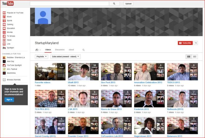 "Here is a ""Screen Capture"" of the Startup Maryland YouTube Playlist Page"