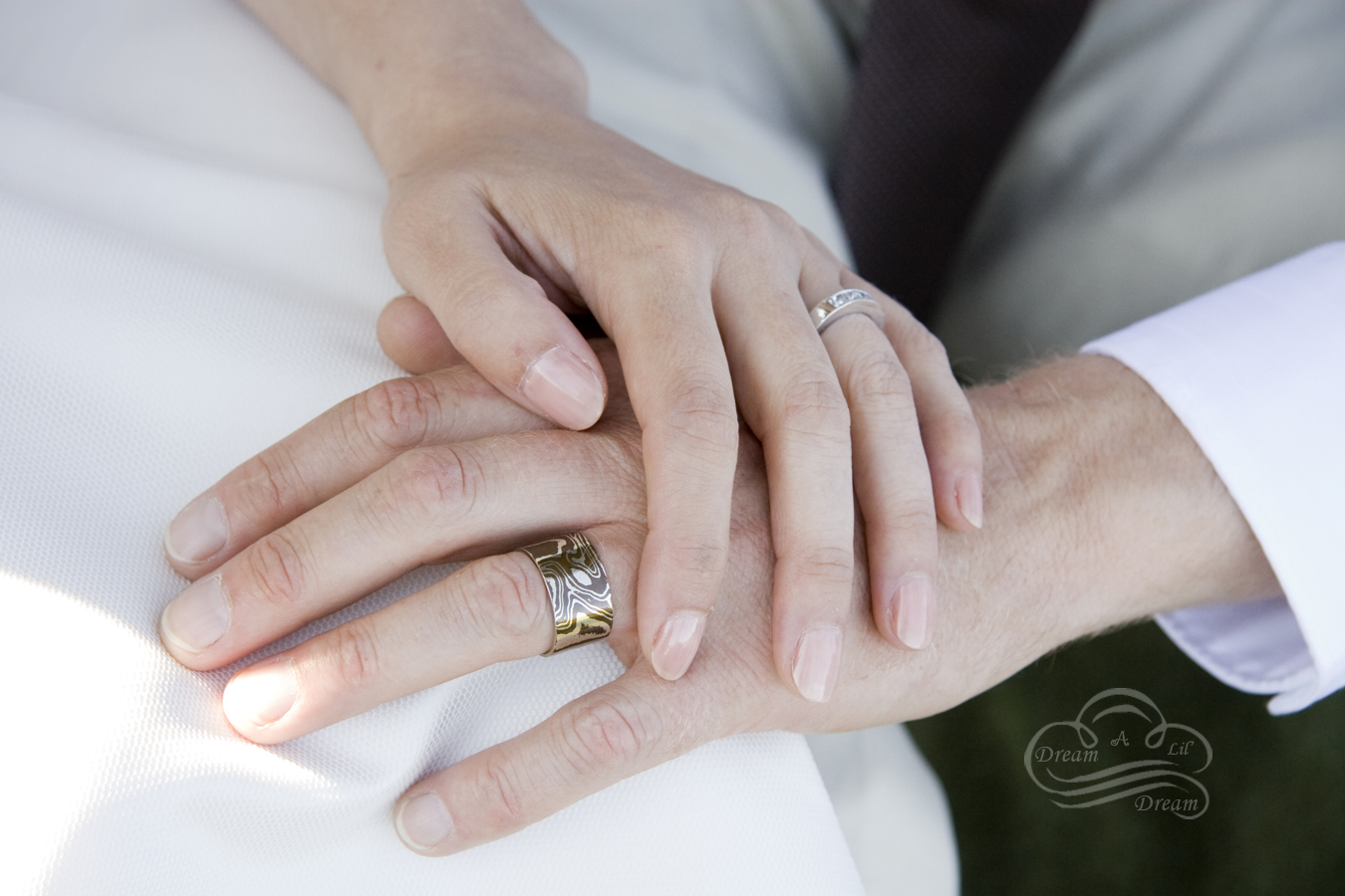 four years mokume gane wedding bands Our wedding rings