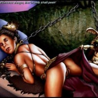 Jabba the hutt cought Princess Leia and made her to his slave. When she sleeps, Jabba's pet take her wet slip off and watch under her dress.