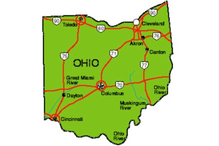 Map Of Ohio And Surrounding States - Map of state of ohio