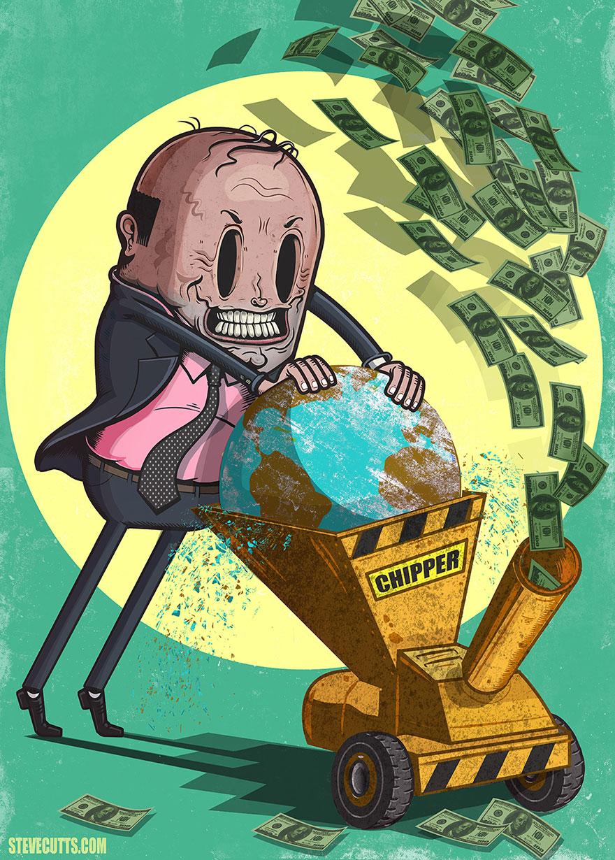 współczesne światowe karykatura-ilustracje-steve-Cutts-1