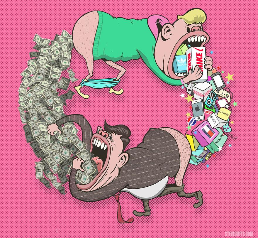 współczesne światowe karykatura-ilustracje-steve-Cutts-2