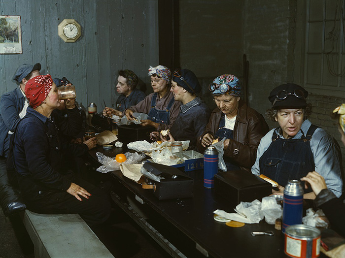 Women Workers Employed As Wipers In The Roundhouse Having Lunch In Their Rest Room (1943)