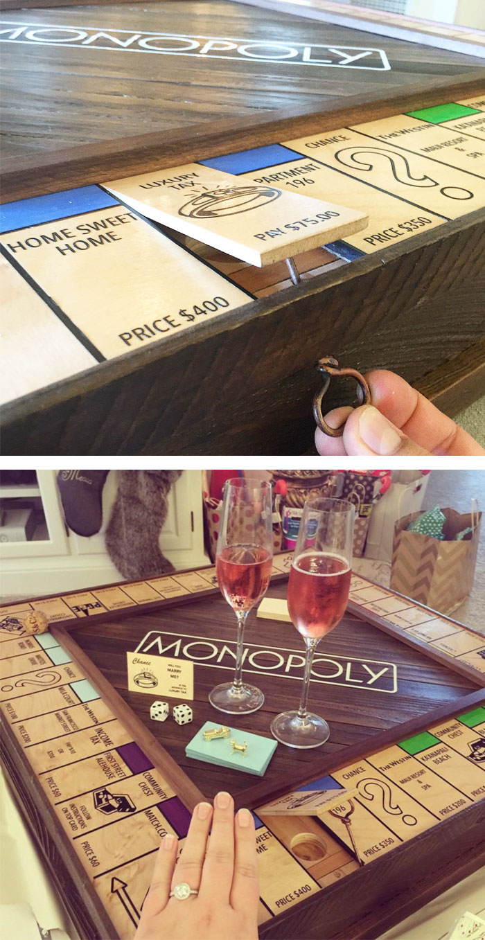 geeky engagement rings boxes proposal ideas gamer wedding rings 14 Monopoly Board With Secret Ring Box