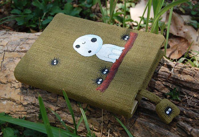 Notebook With Kodama From Princess Mononoke Hand Painted On Green Cotton