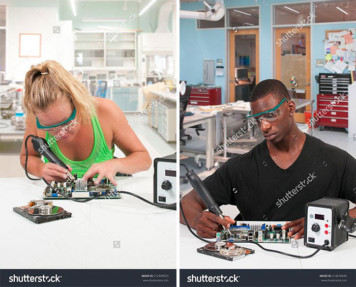 Beautiful woman repair soldering a printed circuit board
