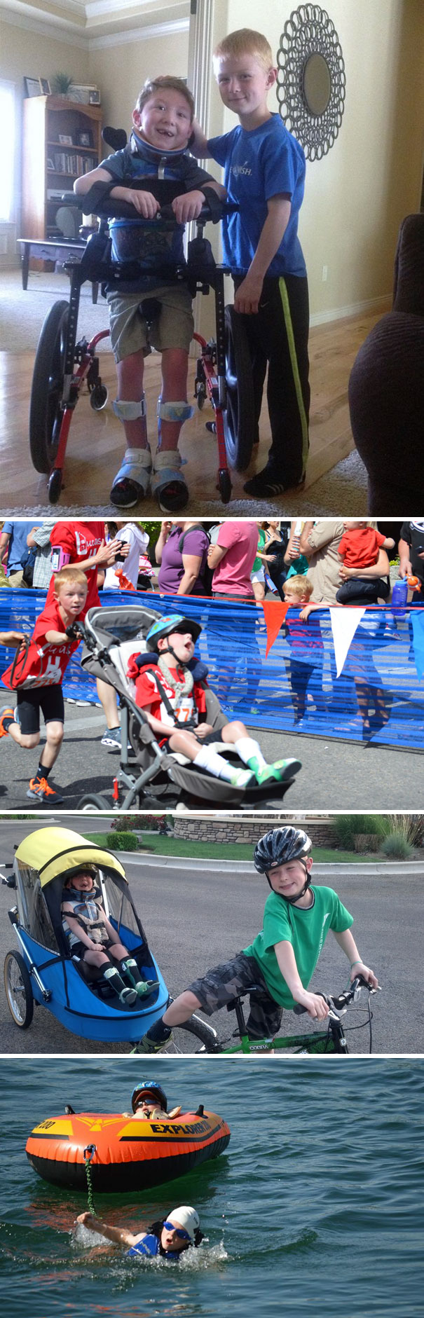 8-Year-Old Noah Completes Mini-Triathlon With His Disabled Brother Lucas
