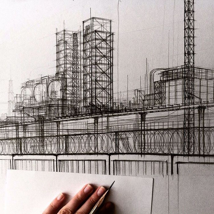 Sketch Of A Factory