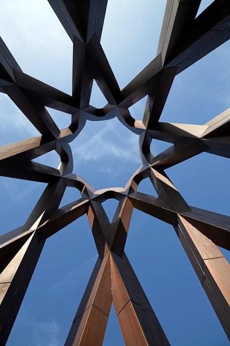 Towering copper memorial by Borheh honours philosopher Javad Nurbakhsh