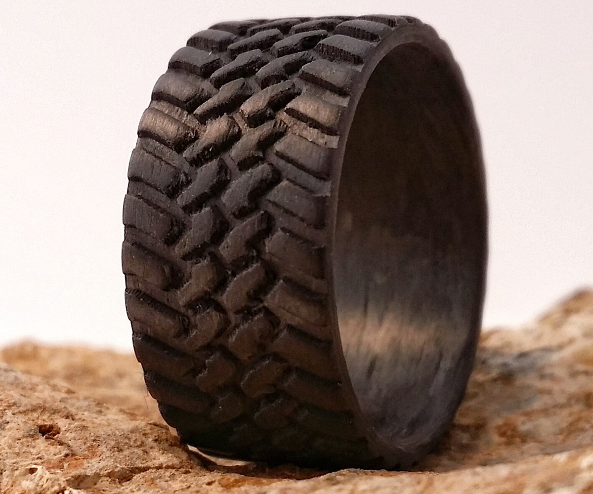 carbon fiber tire tread rings tire tread wedding band Off Road Tread Carbon Fiber Rings