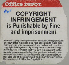 Copyright infringement warning