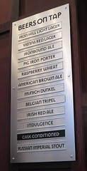 the beer board at Iron Hill Brewery