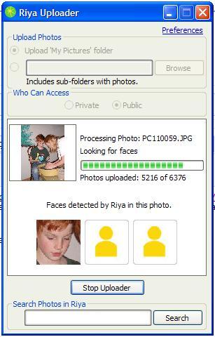 Riya Photo Uploader at Work
