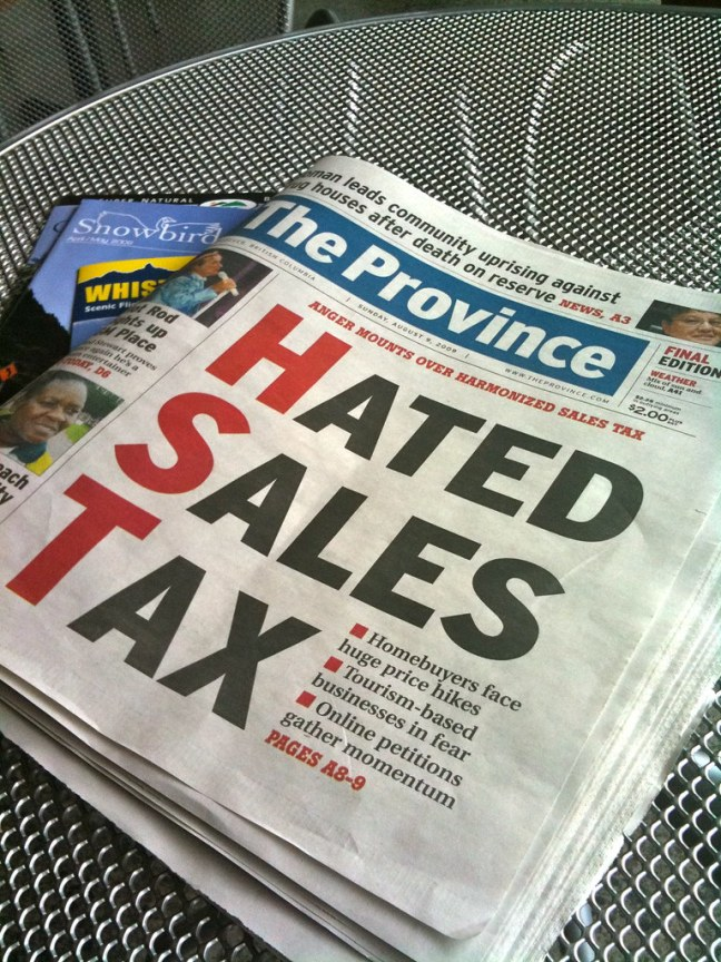 The new Harmonized Sales Tax was the talk of the region