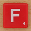 Scrabble White Letter on Red F