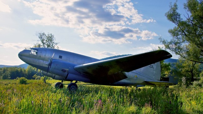 Curtis-Wright C-46 Commando outside Glenn H. Curtiss Aviation Museum