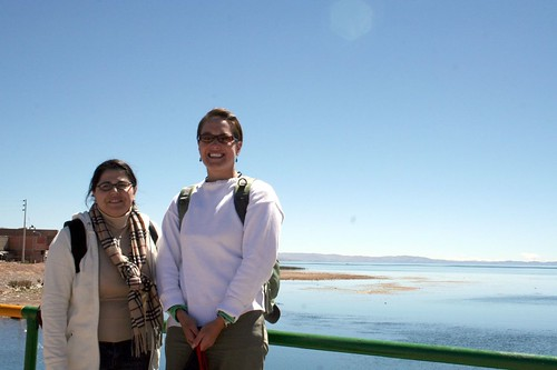 Alma and Kelli on the Bolivian Peruvian border