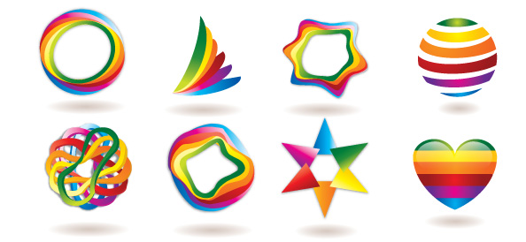 free logo template set with colorful and abstract shapes free logo