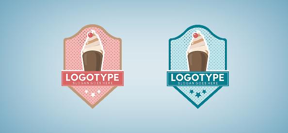 Ice Cream in a Badge Logo Template