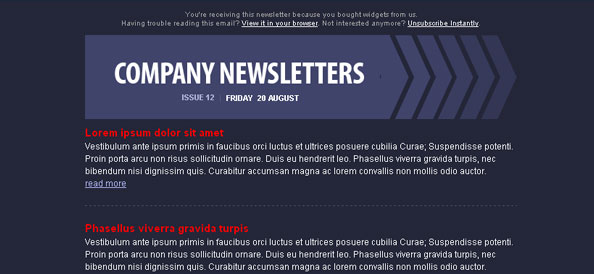 Dark Blue HTML Email Newsletter